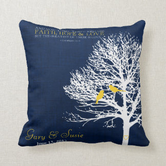 navy and Yellow gold cushion bird tree wedding