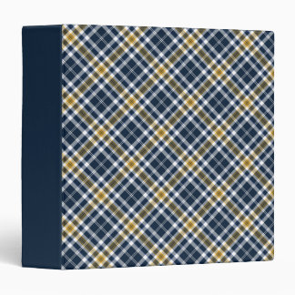 Navy and Yellow Gold Sporty Plaid Binder