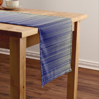 Navy and Yellow Gradient Line Pattern Short Table Runner