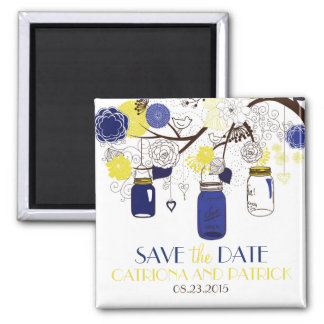 Navy and Yellow Mason Jars Save the Date Magnet