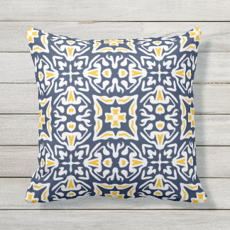 Navy and Yellow Mediterranean Tile Pattern Throw Pillow