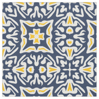 Navy and Yellow Spanish Tile Pattern Fabric