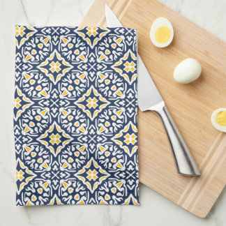 Navy and Yellow Spanish Tile Pattern Kitchen Towel