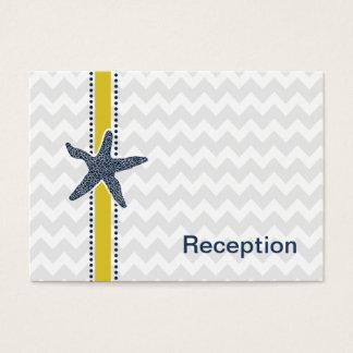 Navy and Yellow Starfish Beach Wedding Stationery Business Card