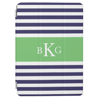 Navy Apple Green Stripes Custom Monogram iPad Air Cover