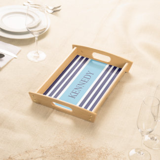 Navy Aqua Blue Stripes & Monogram Serving Tray