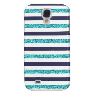 Navy Aqua Faux Glitter Striped Samsung Galaxy S4
