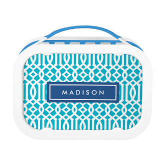 Navy & Aqua Trellis | Personalized Lunch Box