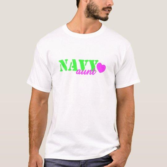 Navy Aunt Lime Green Heart T-Shirt
