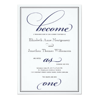 Navy Become as One Christian Wedding Invitation