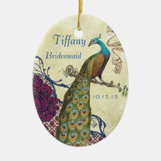 Navy & Berry Berry Elegant Damask Peacock Wedding Ceramic Ornament
