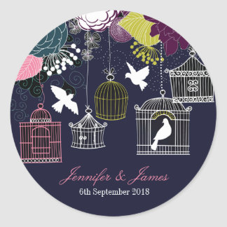 Navy birdcage bird cage doves wedding favor favors round sticker