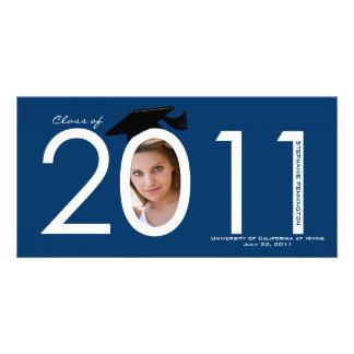 Navy blue 2011 graduation announcement photo card