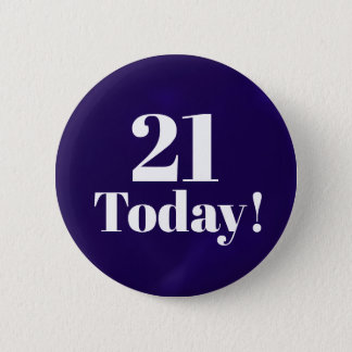 Navy Blue 21st (or any)  Birthday Button