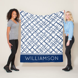 Navy Blue Abstract on White Personalized Fleece Blanket