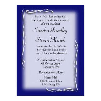 Navy Blue Accent Wedding Invitations
