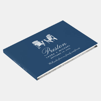 Navy Blue Adirondack Chairs Wedding Guest Book