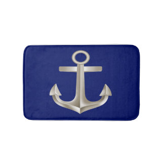 Navy Blue Anchor Bathmat