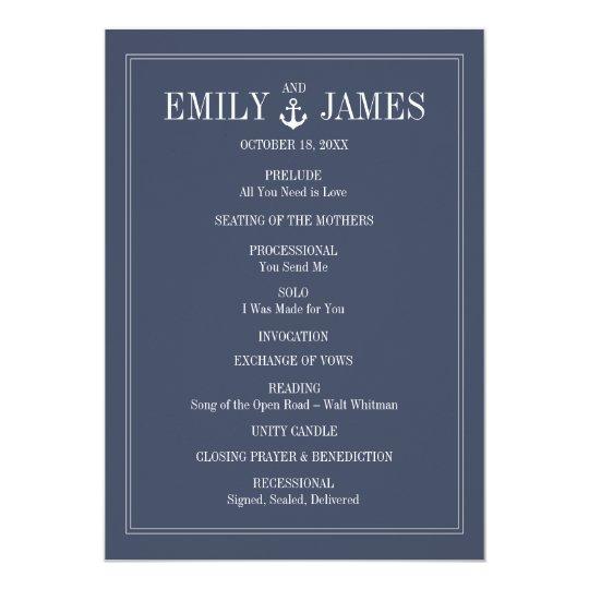 Navy Blue Anchor By The Sea Wedding Programs
