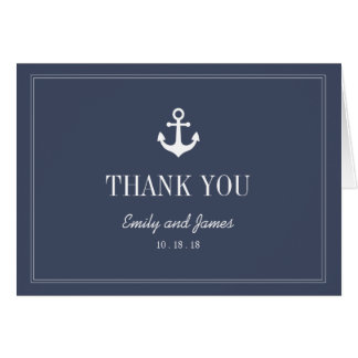 Navy Blue Anchor By The Sea Wedding Thank You Card