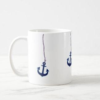 navy blue anchor coffee mug