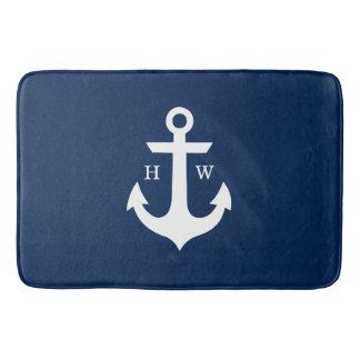 Navy Blue Anchor Monogram Bathroom Mat