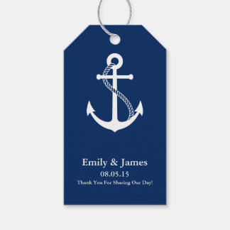 Navy Blue Anchor Nautical Wedding Favor Gift Tags