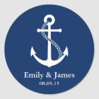Navy Blue Anchor Nautical Wedding Favour Classic Round Sticker