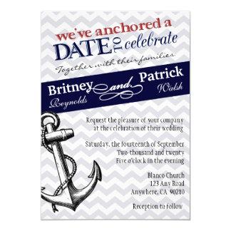 Navy Blue Anchor Nautical Wedding Invitations