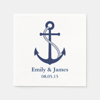 Navy Blue Anchor Nautical Wedding Paper Napkins
