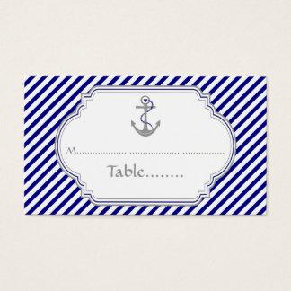 Navy blue anchor nautical wedding place card