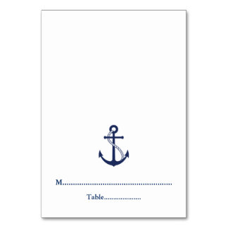 Navy Blue Anchor Nautical Wedding Place Cards