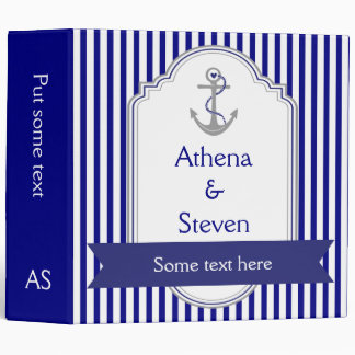 Navy blue anchor nautical wedding planner vinyl binders