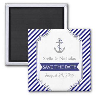 Navy blue anchor nautical wedding Save the Date Square Magnet