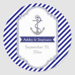 Navy blue anchor nautical wedding Save the Date Round Sticker