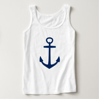 Navy Blue Anchor on White Tank Top