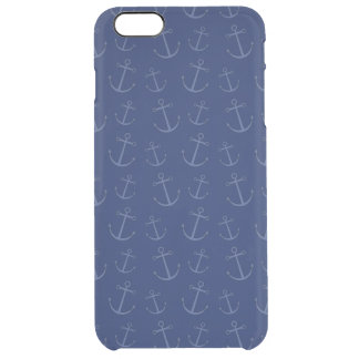 Navy blue anchor pattern uncommon clearly™ deflector iPhone 6 plus case