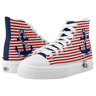 Navy Blue Anchor & Red/White Stripes Printed Shoes