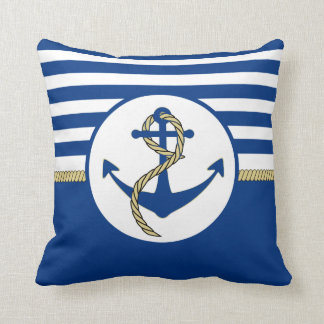Navy blue anchor with ship rope throw pillow