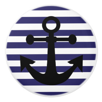 Navy Blue  Anchors Away Ceramic Knob