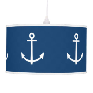 Navy Blue Anchors Pattern 1 Ceiling Lamp
