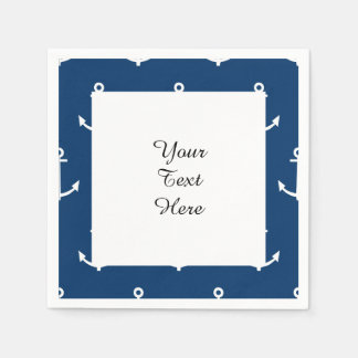 Navy Blue Anchors Pattern 1 Disposable Napkin