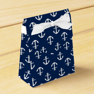 Navy Blue Anchors Pattern Wedding Favor Boxes