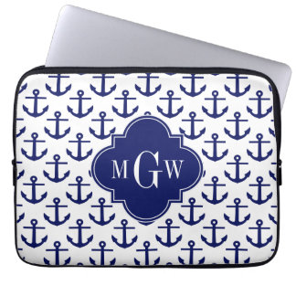 Navy Blue Anchors Wht BG, Navy 3 Initial Monogram Laptop Computer Sleeves