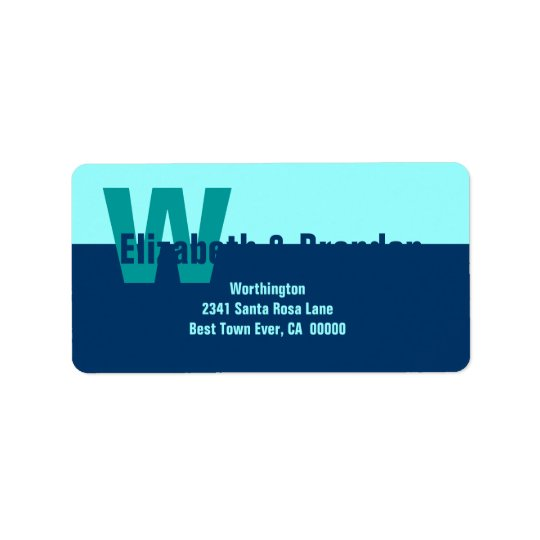 Navy Blue and Aqua Modern Simple Monogram Label