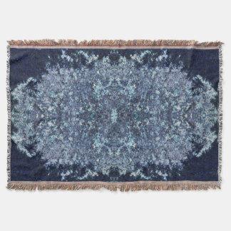 Navy blue and aquamarine moss pattern throw blanket