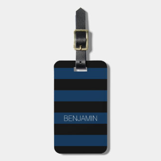Navy Blue and Black Rugby Stripes with Custom Name Luggage Tag