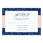 Navy Blue and Blush Pink Damask Swirl Wedding RSVP Card