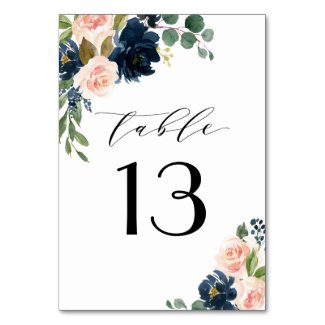 Navy Blue and Blush Pink Floral Country Wedding Table Number