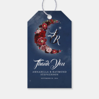 Navy Blue and Burgundy Floral Moon Wedding Gift Tags